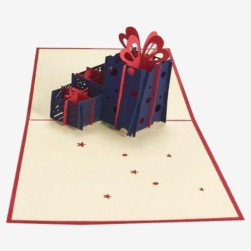 tres regalos de cumpleaños tarjeta de felicitación pop up 3d