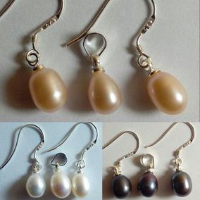 5539e1b09209 Tres Set Aros + Colgante Perla Natural 7-8 Mm De Plata 925