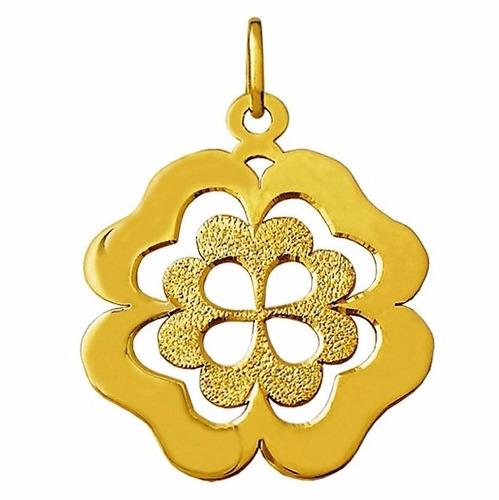 trevo mandala 4.7 cm pingente medalha ouro 18k