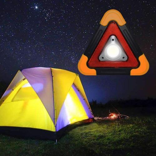 triangulo de seguridad led con foco recargable solar