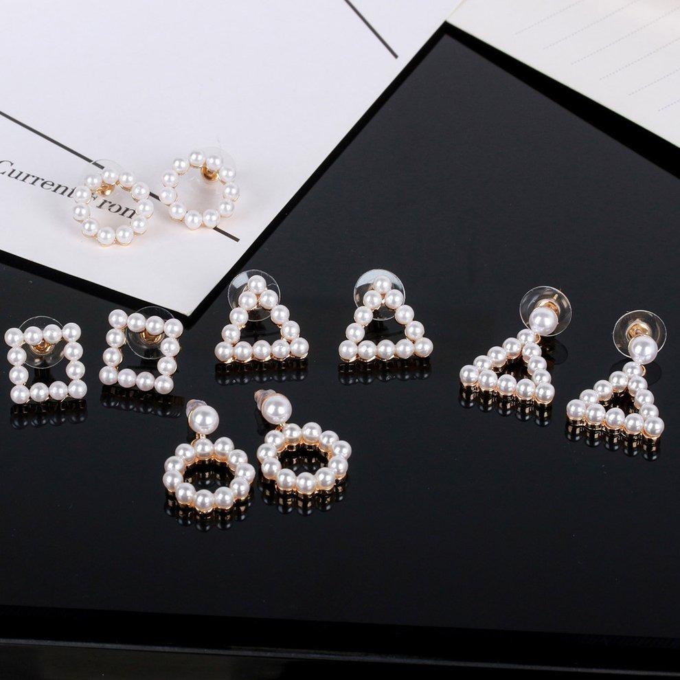 6a7eb5507ce2 triángulo ronda cuadrado stud pendientes perla colgante pen. Cargando zoom.