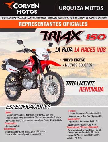 triax 150 corven moto enduro  0 km urquiza motos