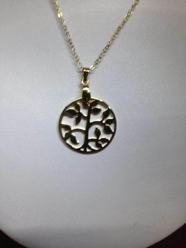 tribal de hojas g con cadena en chapa de oro 22 kilates
