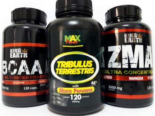 tríbulus terrestris c maca + bcaa + zma 120 caps + brinde