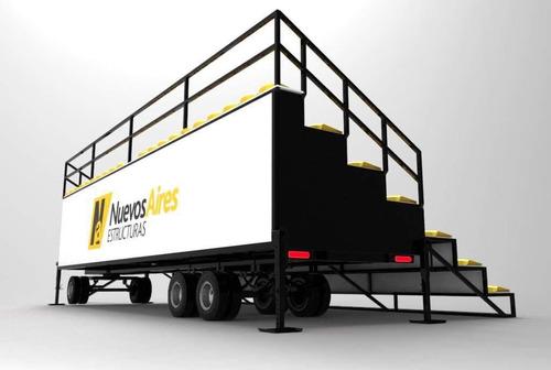 tribunas gradas sobre trailers portatiles moviles vallas