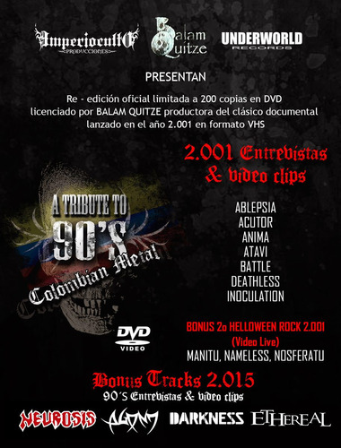 tribute to 90´s colombian metal (dvd 2.015) agony, acutor