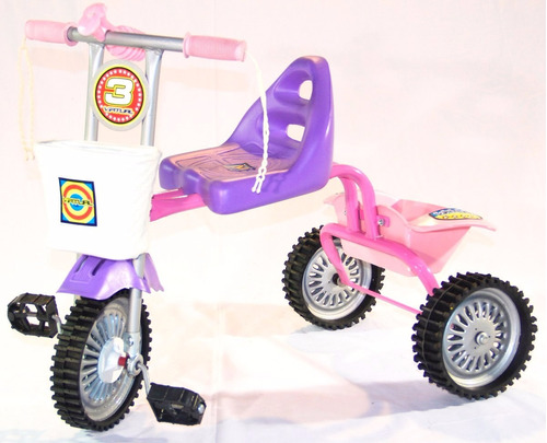 triciclo asiento grande de metal ruedas de goma y canasto