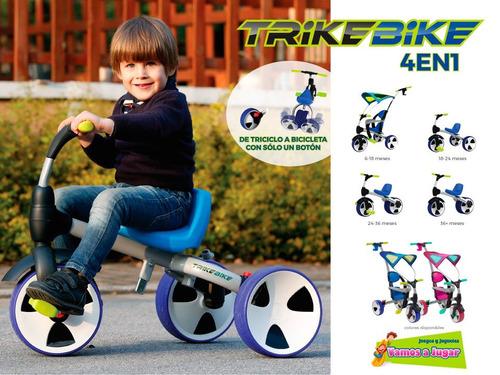 triciclo bebesit trike bike 4 en 1 rosado vamos a jugar