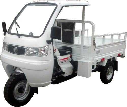 triciclo carga carroceria mca 250,2017, branco motor 250cc.