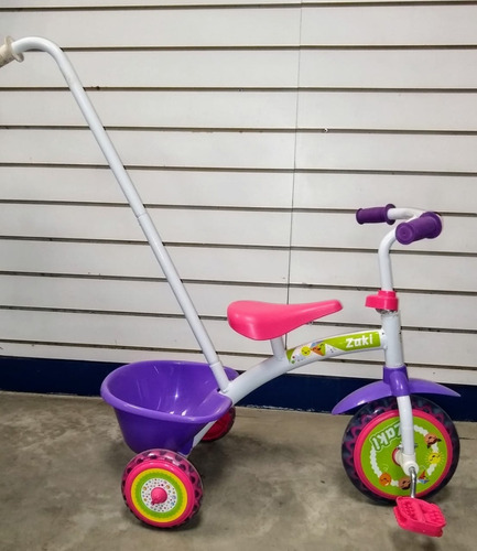 triciclo con barra empuje infantil reforzado zaki babymovil