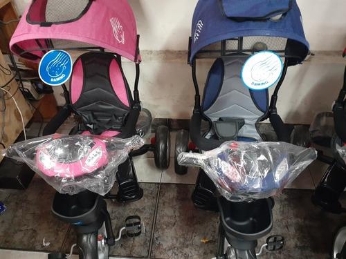 triciclo daming rosado rojo y azul