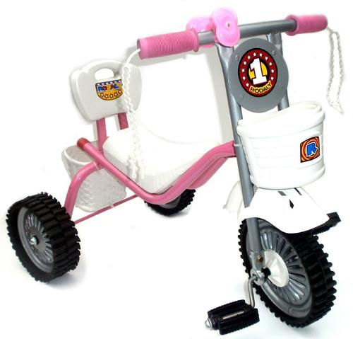 triciclo de metal asiento largo ruedas de goma y chapa