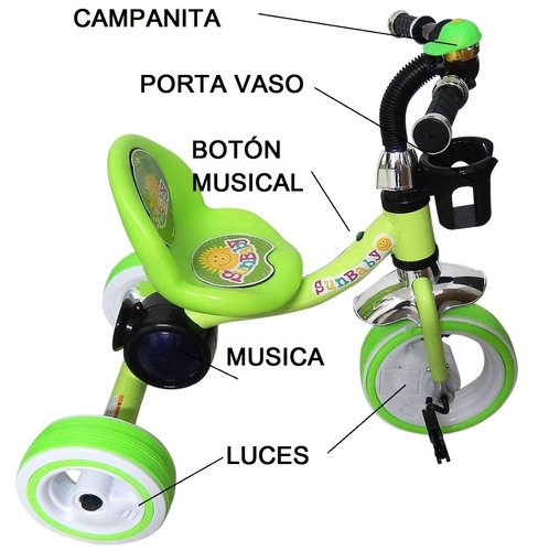 triciclo fiesta bebe musical luces colores niño y niña paseo