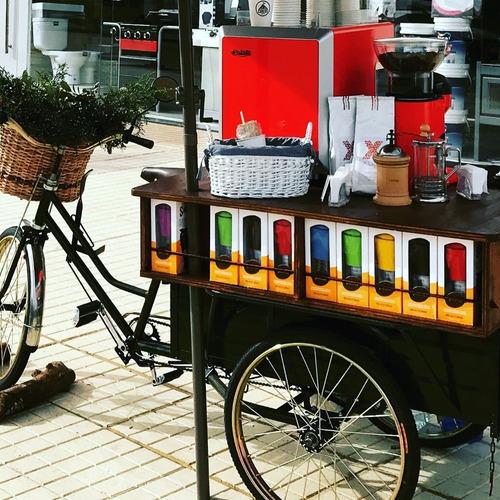 triciclo food truck bici cafetera