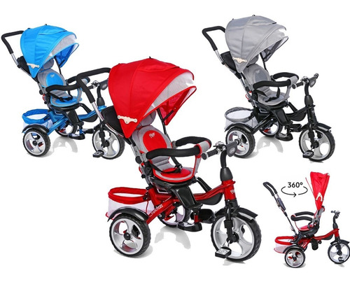 triciclo infantil asiento giratorio 360 y manija metal refor
