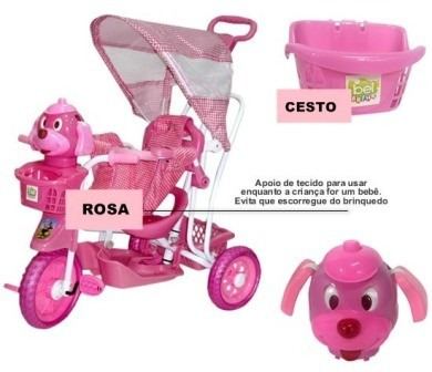 triciclo infantil c/capota empurrar + gangorra + pedalar