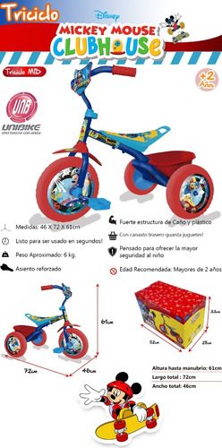 triciclo infantil nene nena disney mickey minnie spiderman