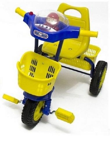 triciclo infantil reforzado chasis metal azul luz y sonidos