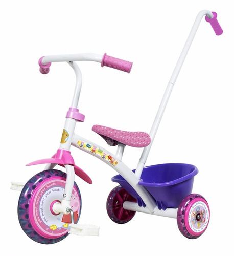 triciclo little peppa pig metal super calidad con canasto