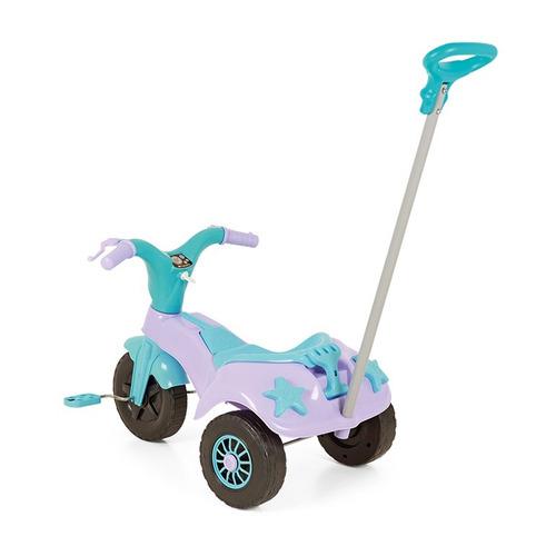 triciclo motoca praia e campo com empurrador homeplay rosa