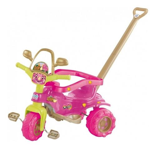 triciclo motoca tico tico dino pink com aro haste magic toys