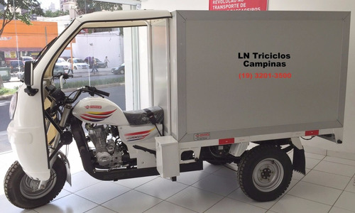 triciclo motocar baú isotérmico 250 moto2017, branco.