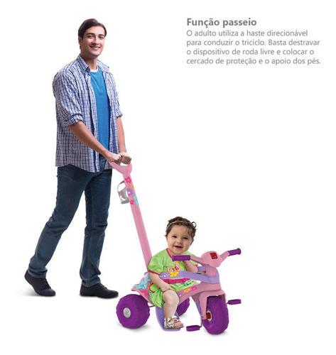 triciclo motoka flower passeio & pedal c/ haste removível