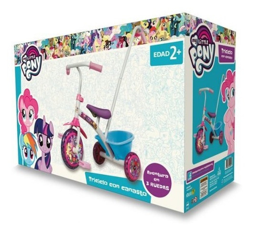 triciclo my little pony metal con manija canasto original