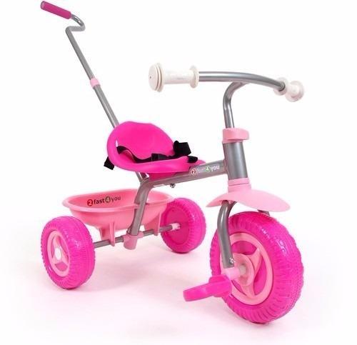 triciclo niña rosa- metálico inicial con baston envio gratis