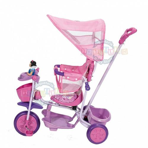triciclo princesas disney de metal con barra y toldo