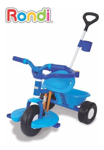triciclo rondi go! azul rosa con barra arrastre mundo manias
