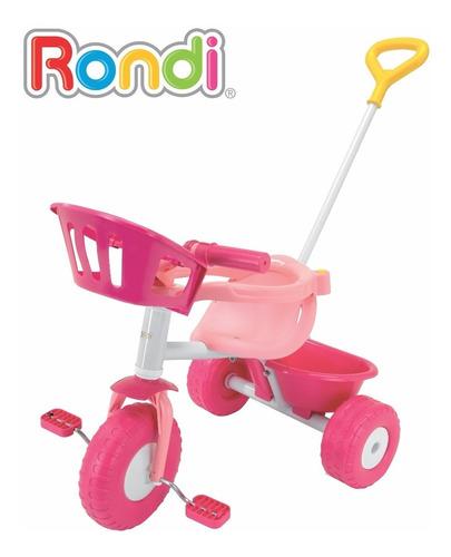triciclo rondi pink blue metal con barra arrastre mundomania