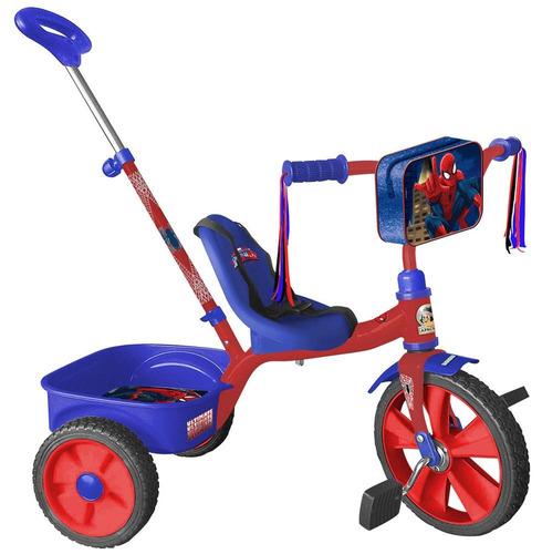 triciclo spiderman con barra empujadora r12