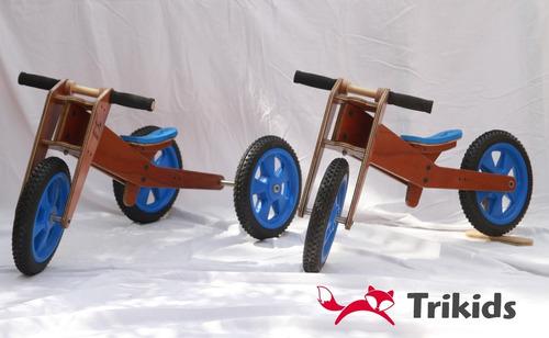 triciclo y bicicleta de aprendizaje de madera todo en 1.