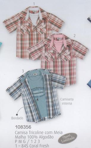 trick nick - camisa tricoline infantil meia malha 108356
