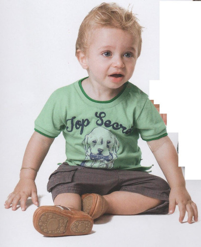 trick nick - camiseta infantil meia malha com bordado 100311