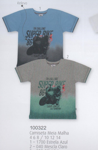 trick nick - camiseta infantil meia malha com estampa 100322