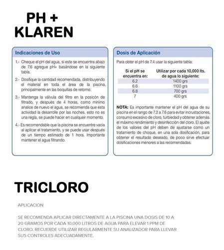 tricloro granulado 5kg y ph+ klaren 5kg para alberca piscina