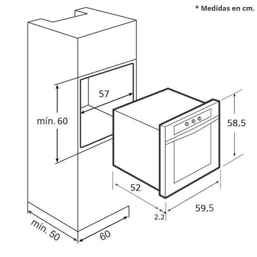 tricombo parrilla campana p. horno 60cm  inox/c.temp tekhno