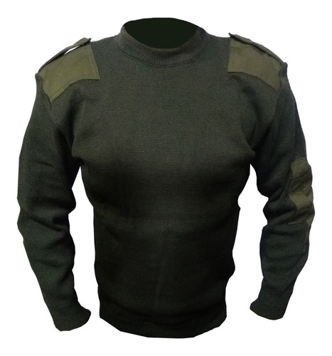 tricota cuello redondo pullover con parches militar policial