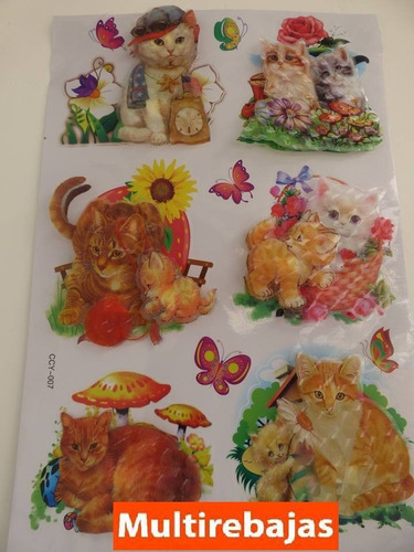 tridimencional stickers gatos varios