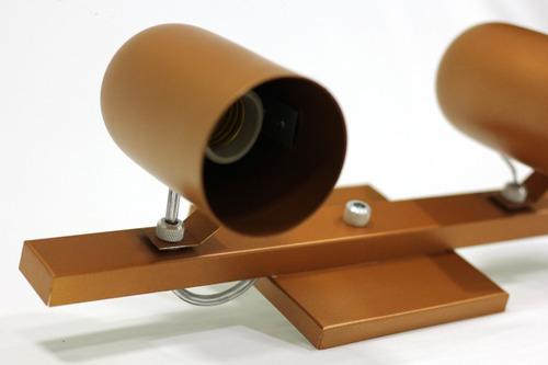 trilho 2 spots p/ par20 e27 35cm cobre barato