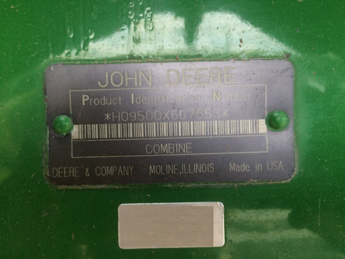 trilladora john deere; 9500