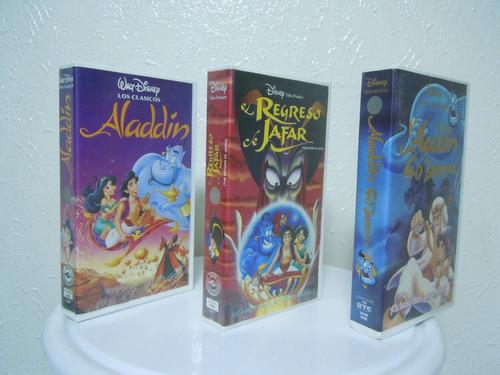 trilogía de aladdín vhs, clásicos de walt disney originales