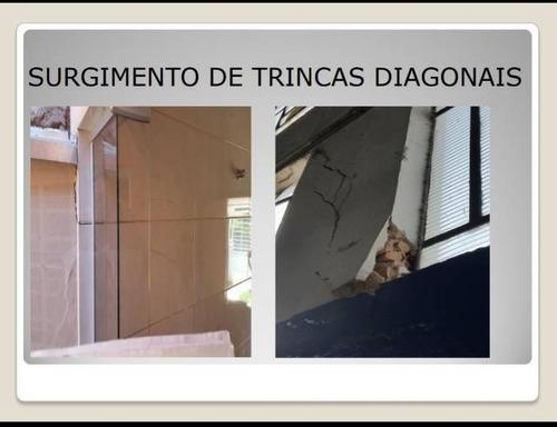 trincas e rachaduras em paredes, pisos e teto