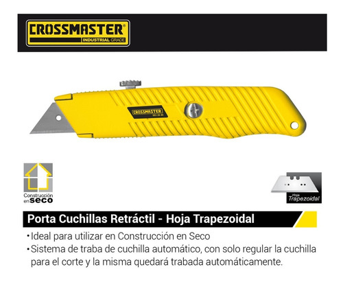 trincheta cutter pesada metal retractil crossmaster 19 mm