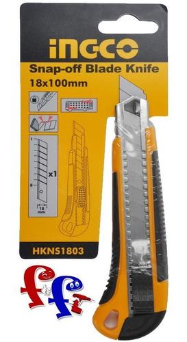 trincheta ingco 18mm c/ 5 hojas soft grip hkns1805 ff