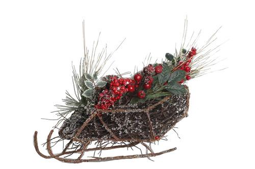 trineo nevado grande con pino berries y pinas