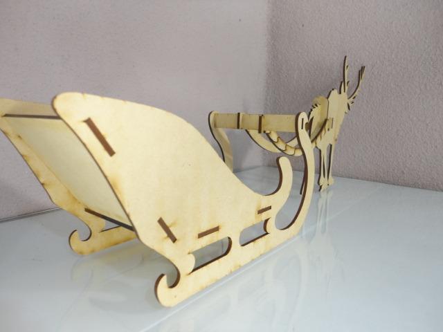 Trineo y reno hecho en madera mdf para adorno o recuerdo for Trineo madera decoracion