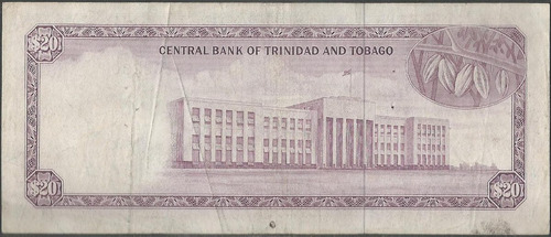 trinidad y tobago, 20 dollars l1964 ( 1977 ) p33a
